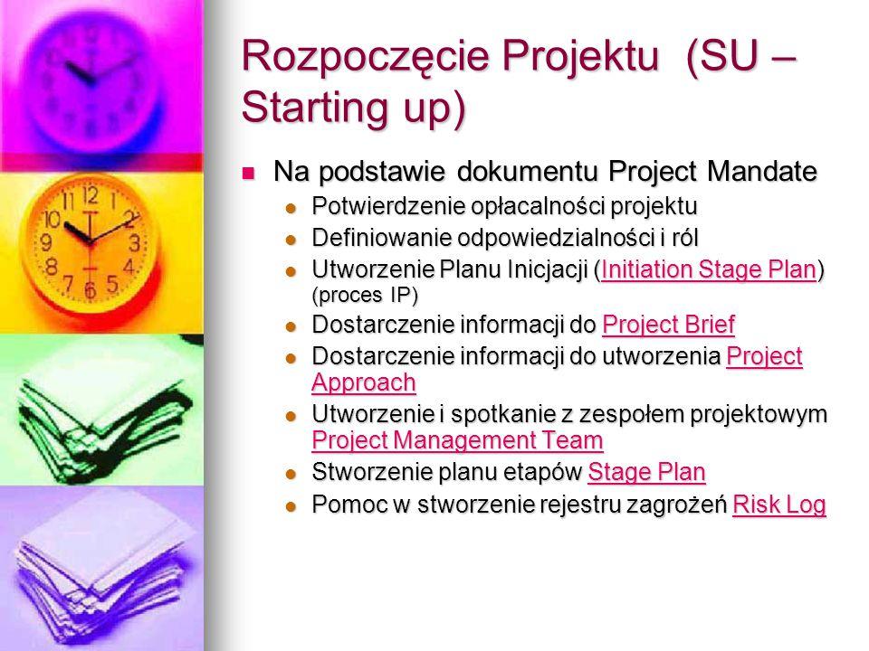 Rozpoczęcie Projektu (SU – Starting up) Na podstawie dokumentu Project Mandate Na podstawie dokumentu Project Mandate Potwierdzenie opłacalności projektu Potwierdzenie opłacalności projektu Definiowanie odpowiedzialności i ról Definiowanie odpowiedzialności i ról Utworzenie Planu Inicjacji (Initiation Stage Plan) (proces IP) Utworzenie Planu Inicjacji (Initiation Stage Plan) (proces IP)Initiation Stage PlanInitiation Stage Plan Dostarczenie informacji do Project Brief Dostarczenie informacji do Project BriefProject BriefProject Brief Dostarczenie informacji do utworzenia Project Approach Dostarczenie informacji do utworzenia Project ApproachProject ApproachProject Approach Utworzenie i spotkanie z zespołem projektowym Project Management Team Utworzenie i spotkanie z zespołem projektowym Project Management Team Project Management Team Project Management Team Stworzenie planu etapów Stage Plan Stworzenie planu etapów Stage PlanStage PlanStage Plan Pomoc w stworzenie rejestru zagrożeń Risk Log Pomoc w stworzenie rejestru zagrożeń Risk LogRisk LogRisk Log