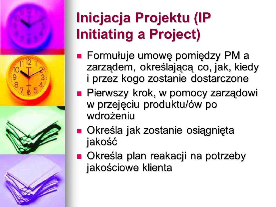 Inicjacja Projektu (IP Initiating a Project) Formułuje umowę pomiędzy PM a zarządem, określającą co, jak, kiedy i przez kogo zostanie dostarczone Formułuje umowę pomiędzy PM a zarządem, określającą co, jak, kiedy i przez kogo zostanie dostarczone Pierwszy krok, w pomocy zarządowi w przejęciu produktu/ów po wdrożeniu Pierwszy krok, w pomocy zarządowi w przejęciu produktu/ów po wdrożeniu Określa jak zostanie osiągnięta jakość Określa jak zostanie osiągnięta jakość Określa plan reakacji na potrzeby jakościowe klienta Określa plan reakacji na potrzeby jakościowe klienta