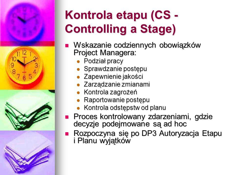 Kontrola etapu (CS - Controlling a Stage) Wskazanie codziennych obowiązków Project Managera: Wskazanie codziennych obowiązków Project Managera: Podział pracy Podział pracy Sprawdzanie postępu Sprawdzanie postępu Zapewnienie jakości Zapewnienie jakości Zarządzanie zmianami Zarządzanie zmianami Kontrola zagrożeń Kontrola zagrożeń Raportowanie postępu Raportowanie postępu Kontrola odstępstw od planu Kontrola odstępstw od planu Proces kontrolowany zdarzeniami, gdzie decyzje podejmowane są ad hoc Proces kontrolowany zdarzeniami, gdzie decyzje podejmowane są ad hoc Rozpoczyna się po DP3 Autoryzacja Etapu i Planu wyjątków Rozpoczyna się po DP3 Autoryzacja Etapu i Planu wyjątków