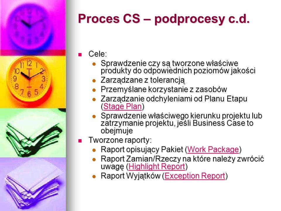 Proces CS – podprocesy c.d. Cele: Cele: Sprawdzenie czy są tworzone właściwe produkty do odpowiednich poziomów jakości Sprawdzenie czy są tworzone wła
