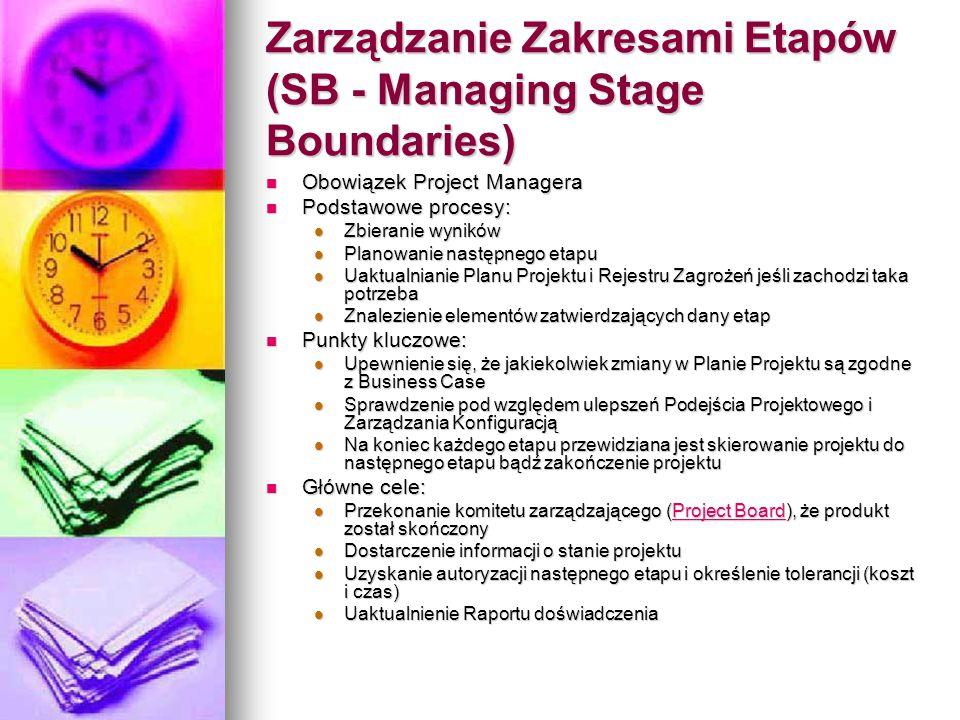 Zarządzanie Zakresami Etapów (SB - Managing Stage Boundaries) Obowiązek Project Managera Obowiązek Project Managera Podstawowe procesy: Podstawowe pro