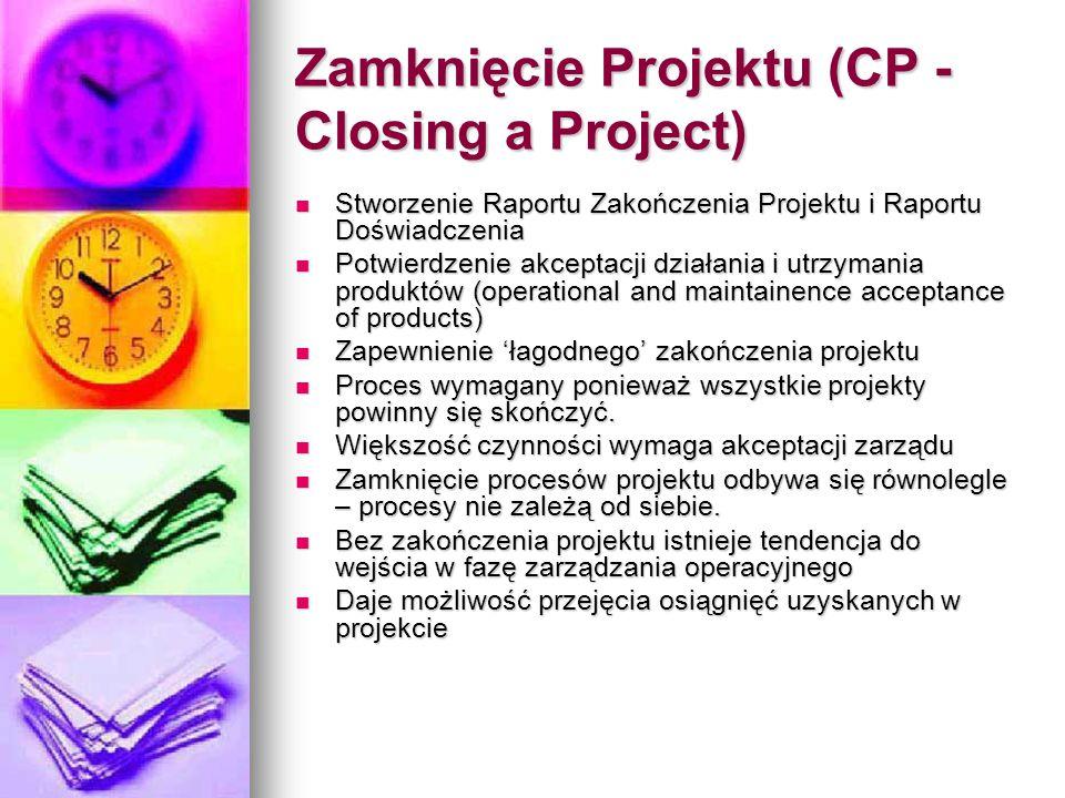 Zamknięcie Projektu (CP - Closing a Project) Stworzenie Raportu Zakończenia Projektu i Raportu Doświadczenia Stworzenie Raportu Zakończenia Projektu i