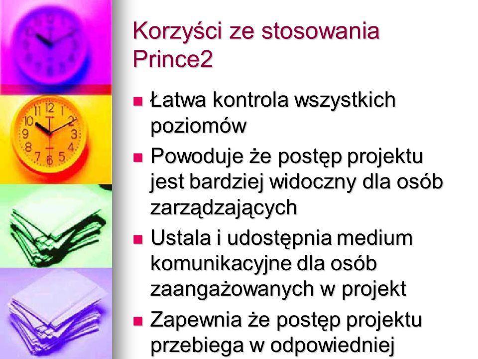 Korzyści ze stosowania Prince2 Łatwa kontrola wszystkich poziomów Łatwa kontrola wszystkich poziomów Powoduje że postęp projektu jest bardziej widoczn