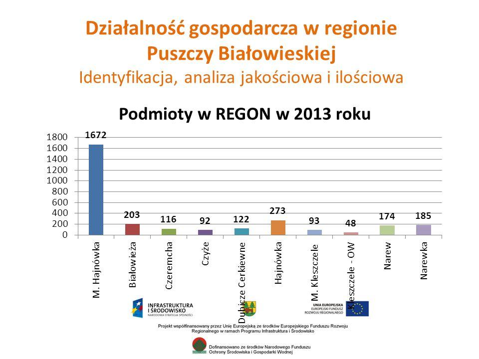 Działalność gospodarcza w regionie Puszczy Białowieskiej Identyfikacja, analiza jakościowa i ilościowa