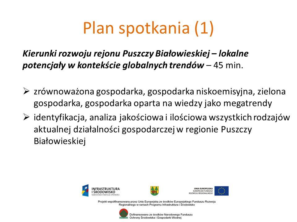 Plan spotkania (2)  identyfikacja i analiza barier rozwoju gospodarczego regionu Puszczy Białowieskiej w okresie 2004-2014 i 2015-2020,  identyfikacja i analiza kierunków rozwoju gospodarczego regionu Puszczy Białowieskiej w okresie 2015-2020, sprzyjających zrównoważonemu rozwojowi, w tym wykorzystanie kapitału naturalnego i usług środowiska Puszczy Białowieskiej,  analiza zasobów i potrzeb surowcowych i energetycznych w świetle kierunków rozwoju gospodarczego, sprzyjających zrównoważonemu rozwojowi regionu Puszczy Białowieskiej w okresie 2015-2020.
