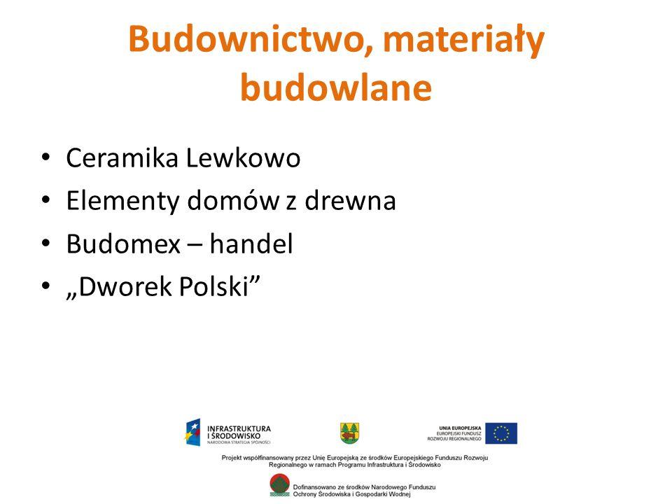 """Budownictwo, materiały budowlane Ceramika Lewkowo Elementy domów z drewna Budomex – handel """"Dworek Polski"""