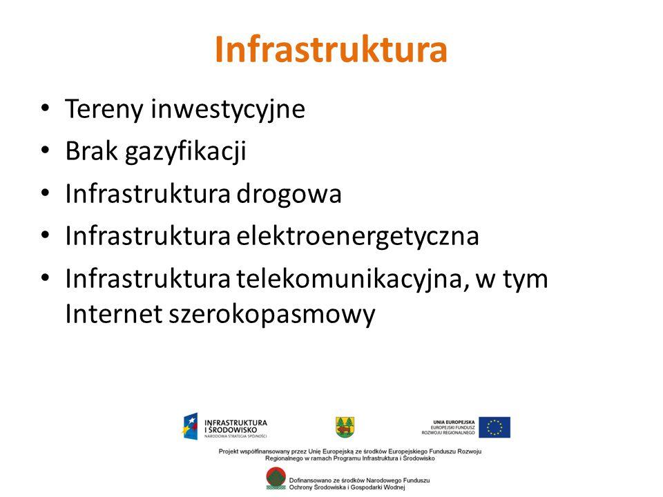 Infrastruktura Tereny inwestycyjne Brak gazyfikacji Infrastruktura drogowa Infrastruktura elektroenergetyczna Infrastruktura telekomunikacyjna, w tym Internet szerokopasmowy