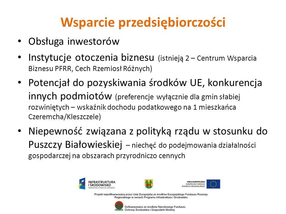 Wsparcie przedsiębiorczości Obsługa inwestorów Instytucje otoczenia biznesu (istnieją 2 – Centrum Wsparcia Biznesu PFRR, Cech Rzemiosł Różnych) Potencjał do pozyskiwania środków UE, konkurencja innych podmiotów (preferencje wyłącznie dla gmin słabiej rozwiniętych – wskaźnik dochodu podatkowego na 1 mieszkańca Czeremcha/Kleszczele) Niepewność związana z polityką rządu w stosunku do Puszczy Białowieskiej – niechęć do podejmowania działalności gospodarczej na obszarach przyrodniczo cennych