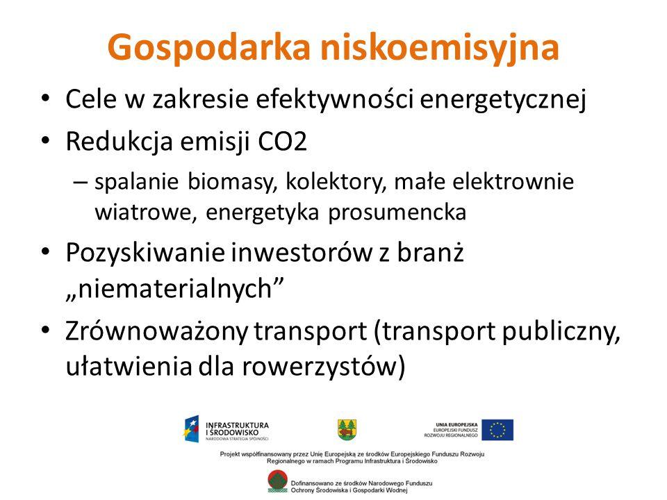 """Gospodarka niskoemisyjna Cele w zakresie efektywności energetycznej Redukcja emisji CO2 – spalanie biomasy, kolektory, małe elektrownie wiatrowe, energetyka prosumencka Pozyskiwanie inwestorów z branż """"niematerialnych Zrównoważony transport (transport publiczny, ułatwienia dla rowerzystów)"""