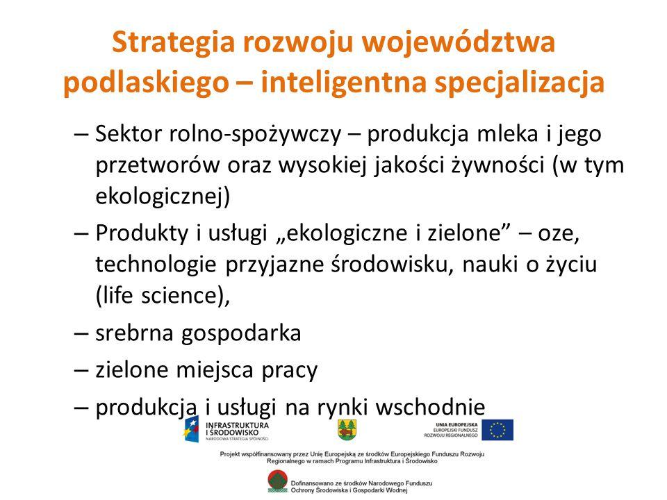 """Strategia rozwoju województwa podlaskiego – inteligentna specjalizacja – Sektor rolno-spożywczy – produkcja mleka i jego przetworów oraz wysokiej jakości żywności (w tym ekologicznej) – Produkty i usługi """"ekologiczne i zielone – oze, technologie przyjazne środowisku, nauki o życiu (life science), – srebrna gospodarka – zielone miejsca pracy – produkcja i usługi na rynki wschodnie"""