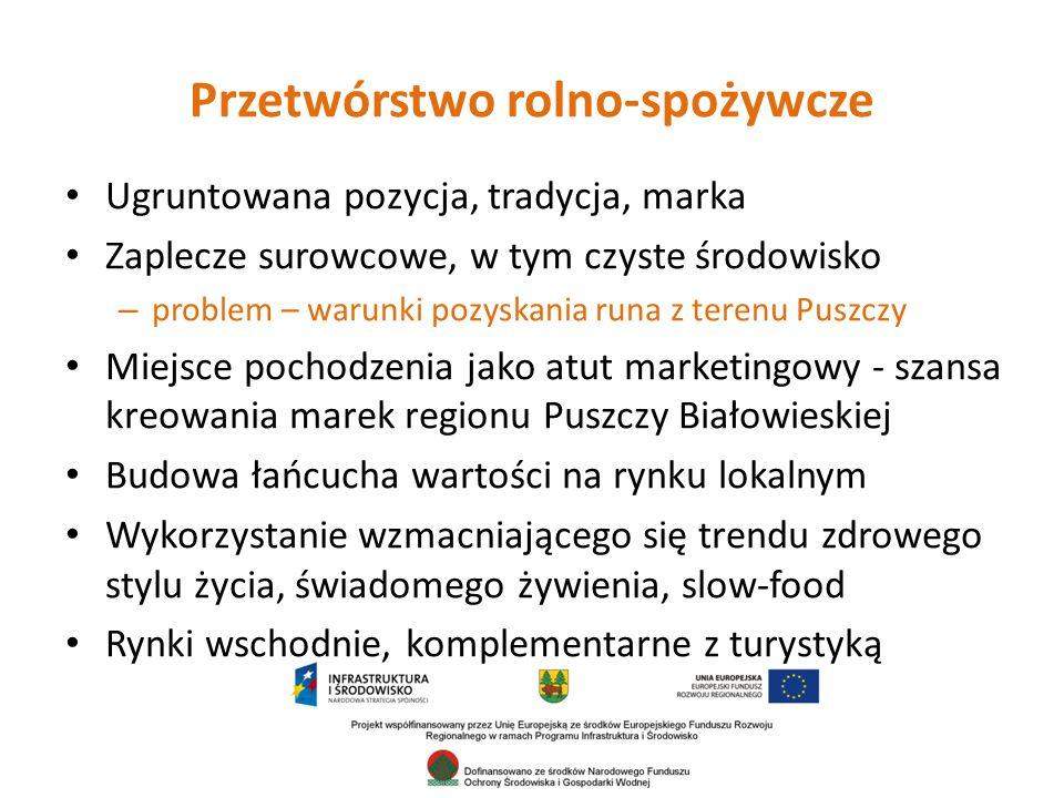 Przetwórstwo rolno-spożywcze Ugruntowana pozycja, tradycja, marka Zaplecze surowcowe, w tym czyste środowisko – problem – warunki pozyskania runa z terenu Puszczy Miejsce pochodzenia jako atut marketingowy - szansa kreowania marek regionu Puszczy Białowieskiej Budowa łańcucha wartości na rynku lokalnym Wykorzystanie wzmacniającego się trendu zdrowego stylu życia, świadomego żywienia, slow-food Rynki wschodnie, komplementarne z turystyką