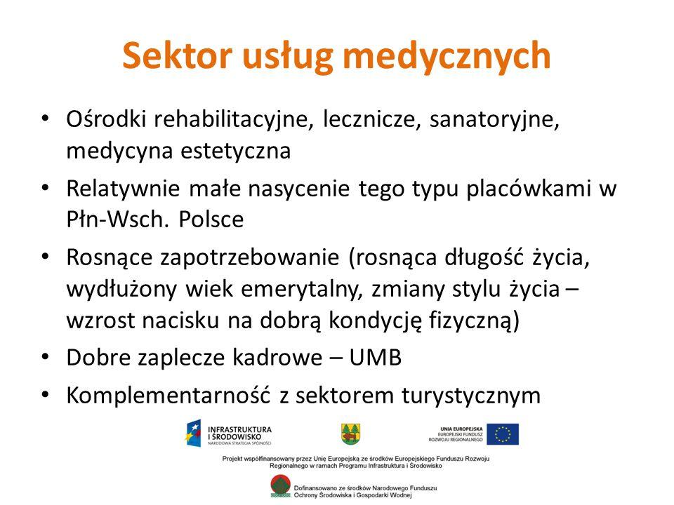 Sektor usług medycznych Ośrodki rehabilitacyjne, lecznicze, sanatoryjne, medycyna estetyczna Relatywnie małe nasycenie tego typu placówkami w Płn-Wsch.