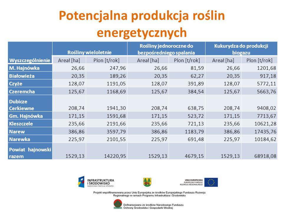 Potencjalna produkcja roślin energetycznych Wyszczególnienie Rośliny wieloletnie Rośliny jednoroczne do bezpośredniego spalania Kukurydza do produkcji biogazu Areał [ha]Plon [t/rok]Areał [ha]Plon [t/rok]Areał [ha]Plon [t/rok] M.
