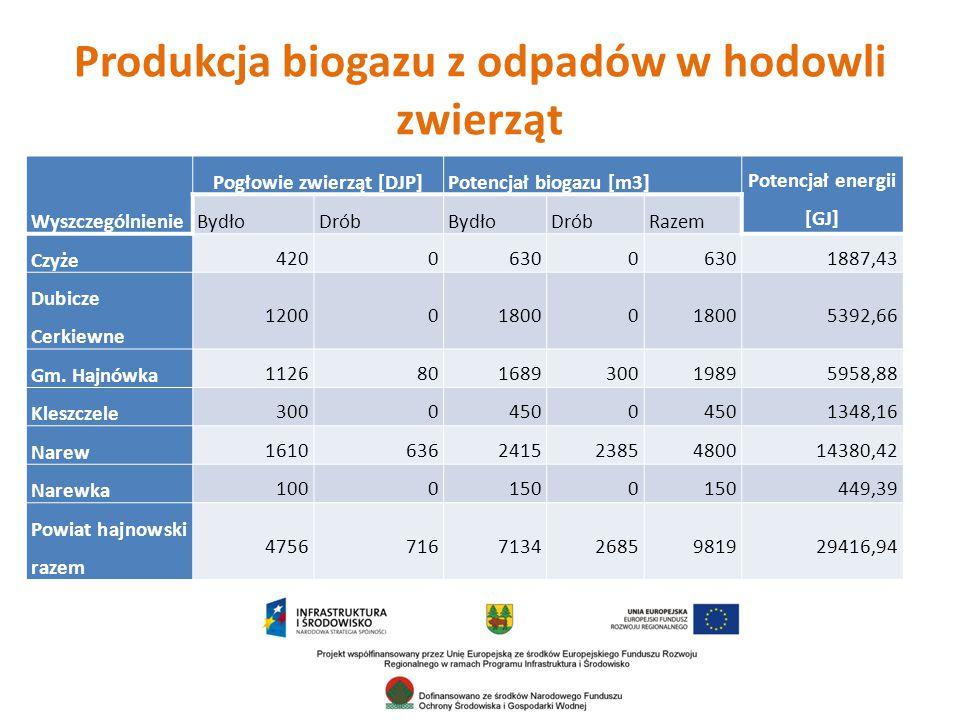 Produkcja biogazu z odpadów w hodowli zwierząt Wyszczególnienie Pogłowie zwierząt [DJP]Potencjał biogazu [m3] Potencjał energii [GJ] BydłoDróbBydłoDróbRazem Czyże 42006300 1887,43 Dubicze Cerkiewne 1200018000 5392,66 Gm.