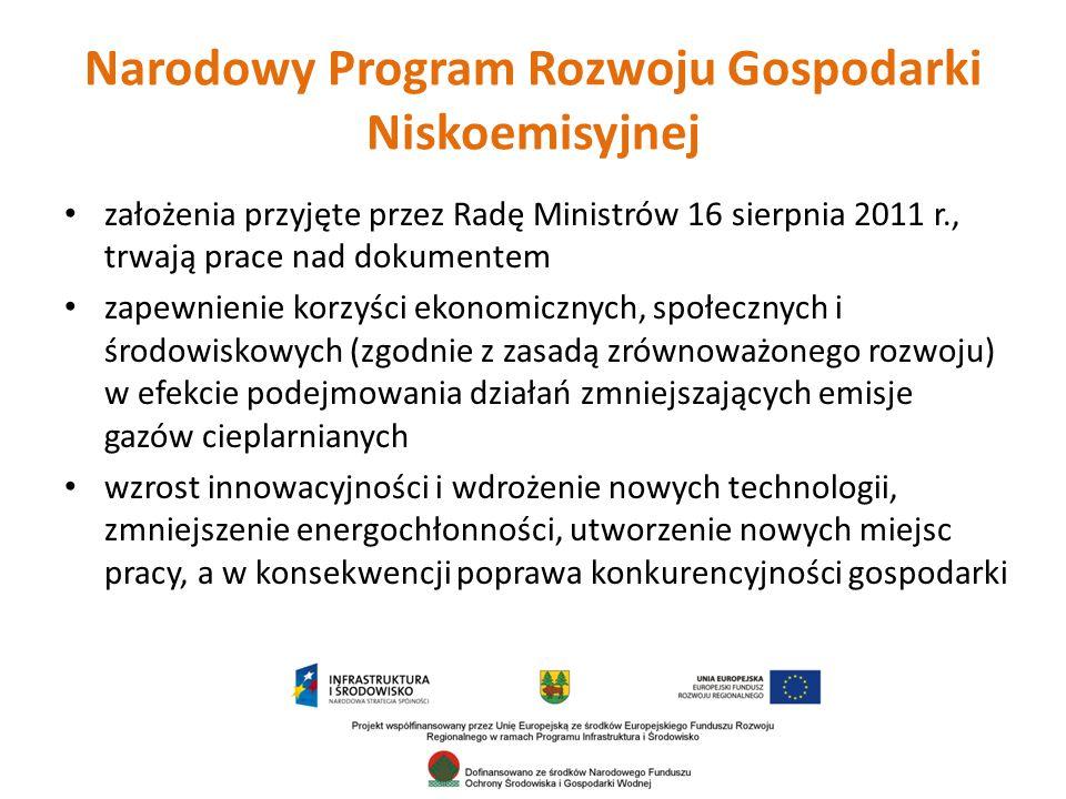 założenia przyjęte przez Radę Ministrów 16 sierpnia 2011 r., trwają prace nad dokumentem zapewnienie korzyści ekonomicznych, społecznych i środowiskowych (zgodnie z zasadą zrównoważonego rozwoju) w efekcie podejmowania działań zmniejszających emisje gazów cieplarnianych wzrost innowacyjności i wdrożenie nowych technologii, zmniejszenie energochłonności, utworzenie nowych miejsc pracy, a w konsekwencji poprawa konkurencyjności gospodarki