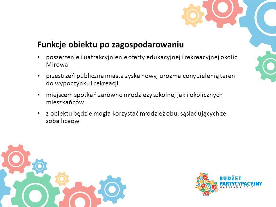 Funkcje obiektu po zagospodarowaniu poszerzenie i uatrakcyjnienie oferty edukacyjnej i rekreacyjnej okolic Mirowa przestrzeń publiczna miasta zyska no