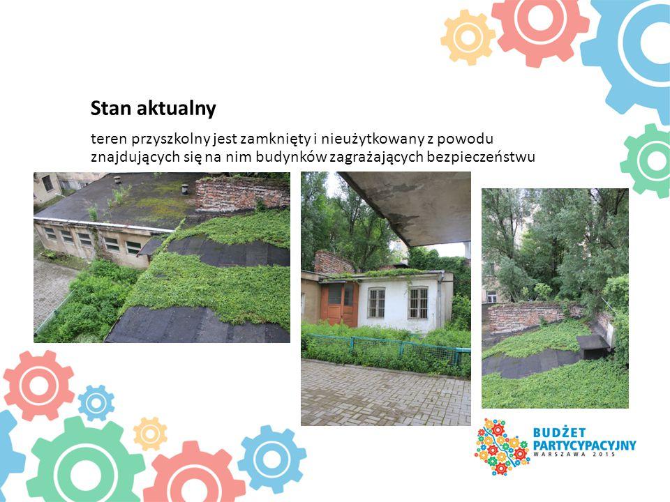 Stan aktualny teren przyszkolny jest zamknięty i nieużytkowany z powodu znajdujących się na nim budynków zagrażających bezpieczeństwu