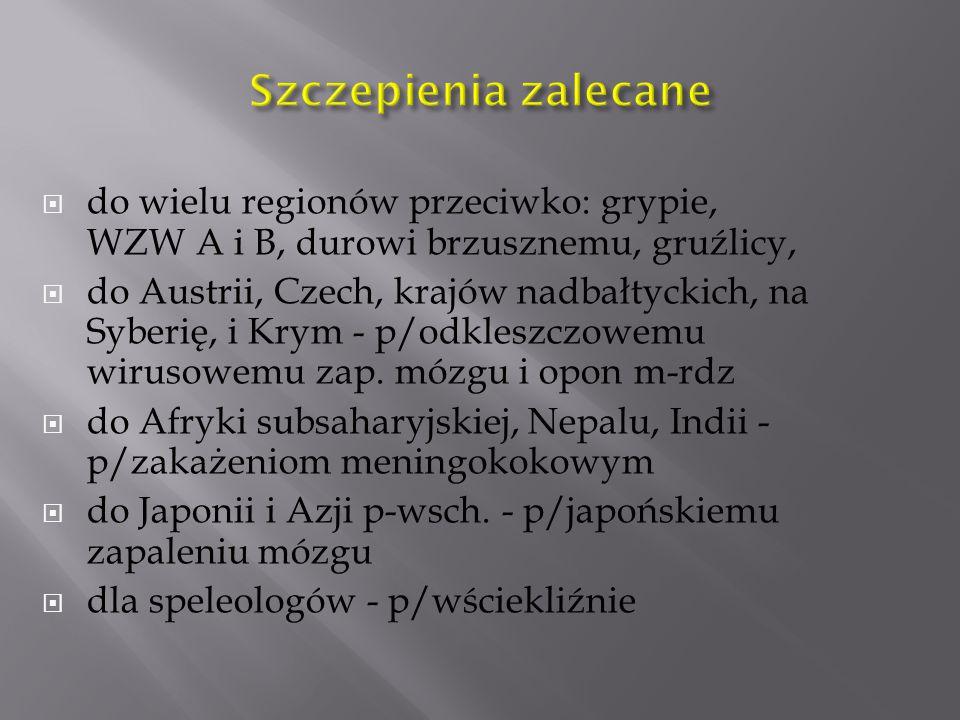  do wielu regionów przeciwko: grypie, WZW A i B, durowi brzusznemu, gruźlicy,  do Austrii, Czech, krajów nadbałtyckich, na Syberię, i Krym - p/odkleszczowemu wirusowemu zap.