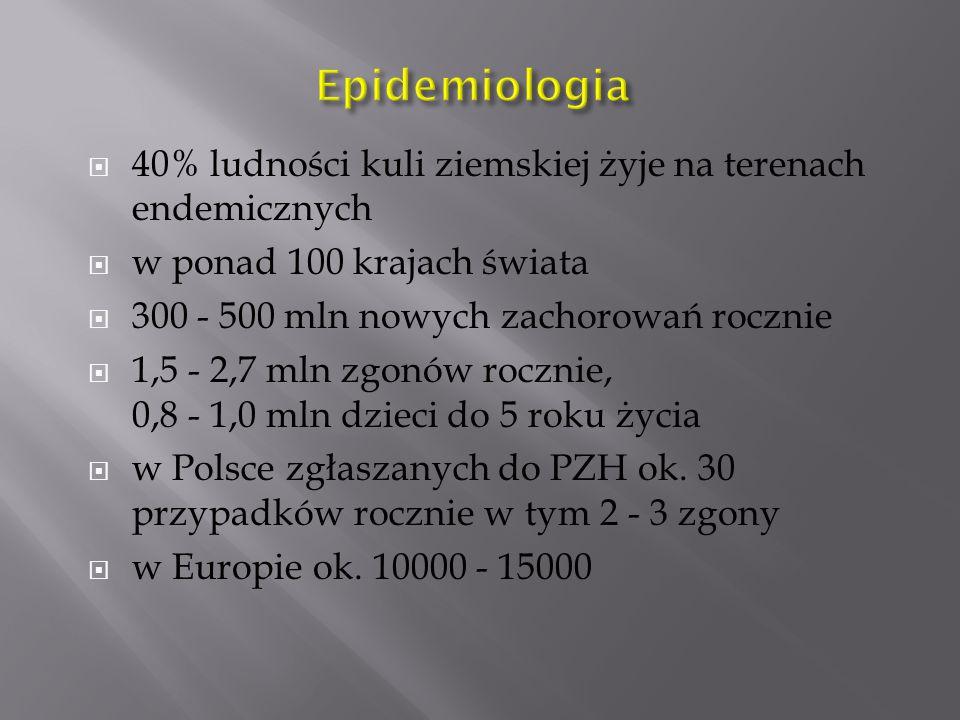  40% ludności kuli ziemskiej żyje na terenach endemicznych  w ponad 100 krajach świata  300 - 500 mln nowych zachorowań rocznie  1,5 - 2,7 mln zgonów rocznie, 0,8 - 1,0 mln dzieci do 5 roku życia  w Polsce zgłaszanych do PZH ok.
