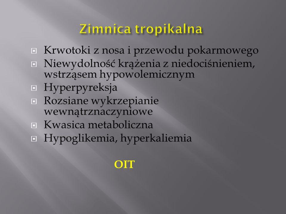  Krwotoki z nosa i przewodu pokarmowego  Niewydolność krążenia z niedociśnieniem, wstrząsem hypowolemicznym  Hyperpyreksja  Rozsiane wykrzepianie wewnątrznaczyniowe  Kwasica metaboliczna  Hypoglikemia, hyperkaliemia OIT