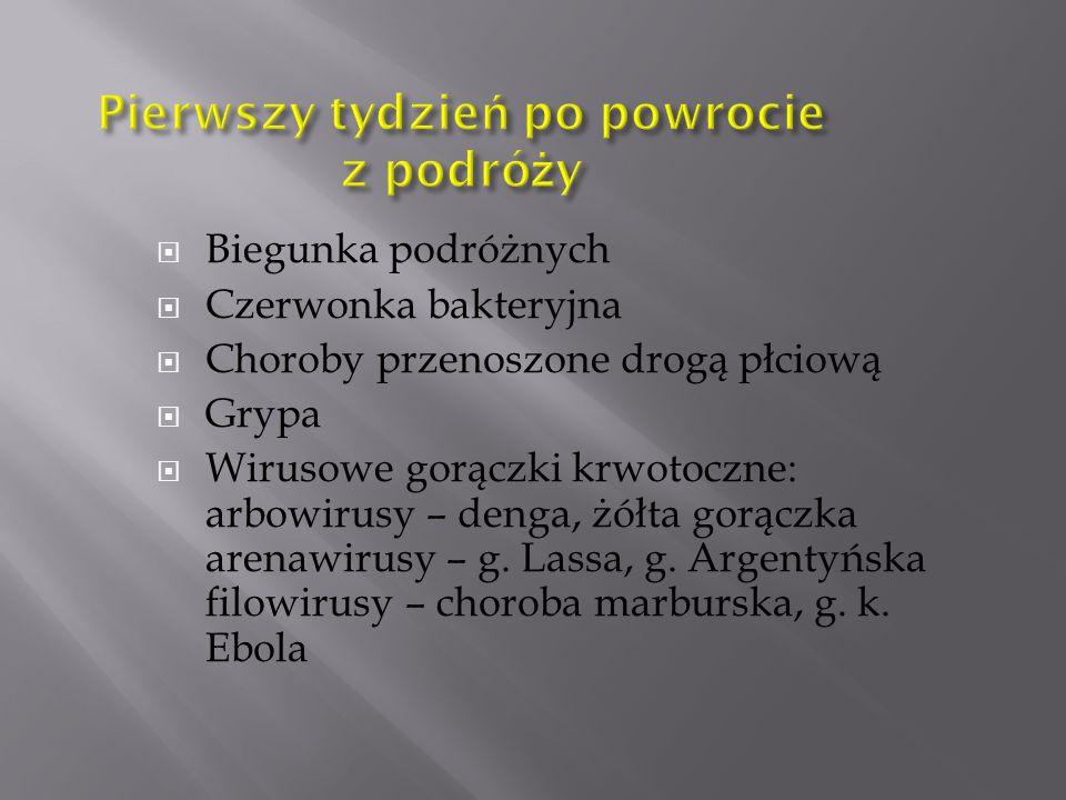  Biegunka podróżnych  Czerwonka bakteryjna  Choroby przenoszone drogą płciową  Grypa  Wirusowe gorączki krwotoczne: arbowirusy – denga, żółta gorączka arenawirusy – g.