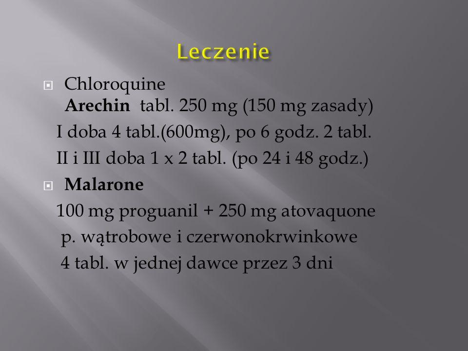  Chloroquine Arechin tabl. 250 mg (150 mg zasady) I doba 4 tabl.(600mg), po 6 godz. 2 tabl. II i III doba 1 x 2 tabl. (po 24 i 48 godz.)  Malarone 1