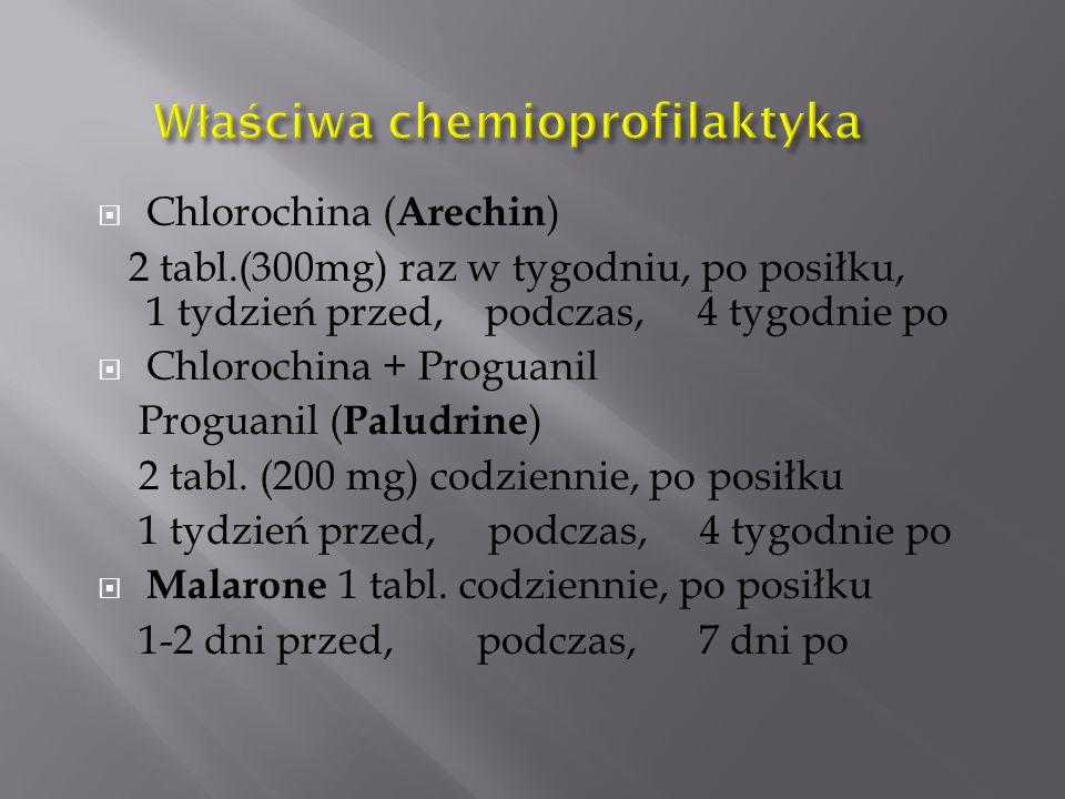  Chlorochina ( Arechin ) 2 tabl.(300mg) raz w tygodniu, po posiłku, 1 tydzień przed, podczas, 4 tygodnie po  Chlorochina + Proguanil Proguanil ( Pal