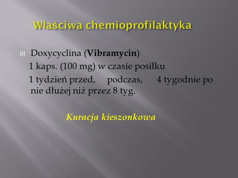  Doxycyclina ( Vibramycin ) 1 kaps. (100 mg) w czasie posiłku 1 tydzień przed, podczas, 4 tygodnie po nie dłużej niż przez 8 tyg. Kuracja kieszonkowa