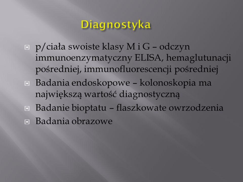  p/ciała swoiste klasy M i G – odczyn immunoenzymatyczny ELISA, hemaglutunacji pośredniej, immunofluorescencji pośredniej  Badania endoskopowe – kolonoskopia ma największą wartość diagnostyczną  Badanie bioptatu – flaszkowate owrzodzenia  Badania obrazowe