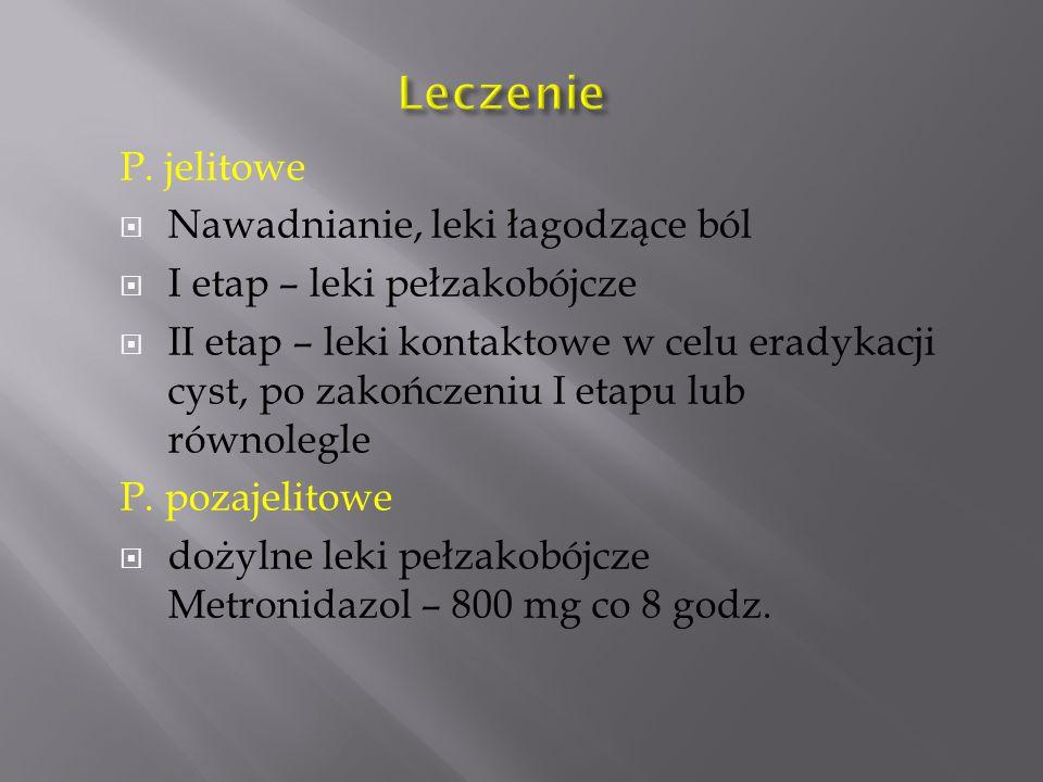 P. jelitowe  Nawadnianie, leki łagodzące ból  I etap – leki pełzakobójcze  II etap – leki kontaktowe w celu eradykacji cyst, po zakończeniu I etapu
