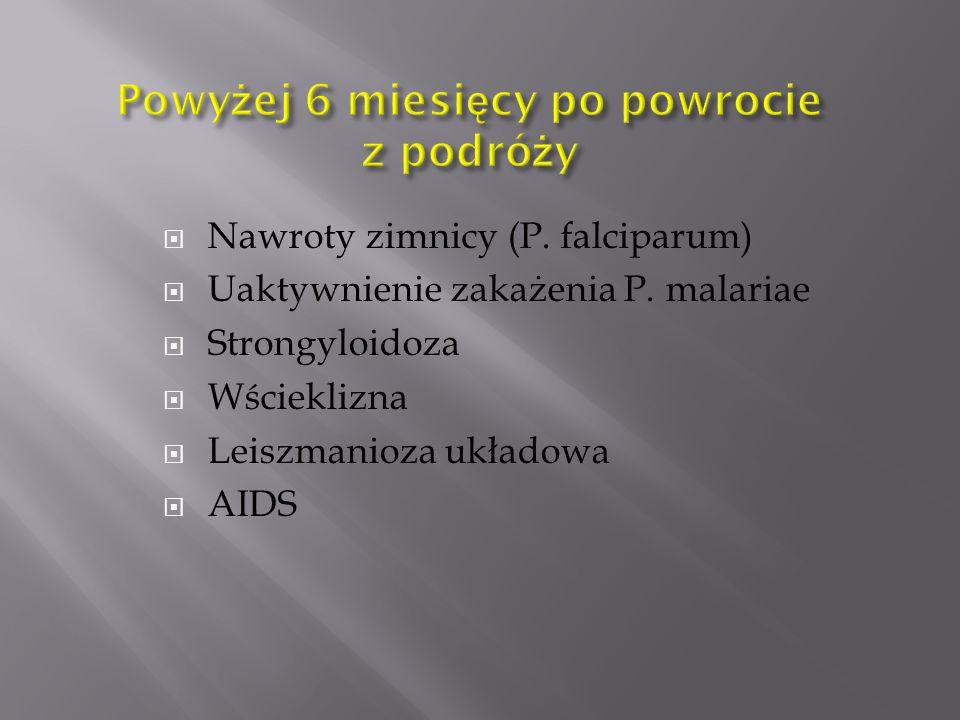 Nawroty zimnicy (P. falciparum)  Uaktywnienie zakażenia P. malariae  Strongyloidoza  Wścieklizna  Leiszmanioza układowa  AIDS