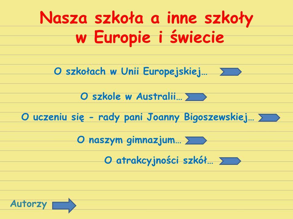 Nasza szkoła a inne szkoły w Europie i świecie O szkołach w Unii Europejskiej… O szkole w Australii… O uczeniu się - rady pani Joanny Bigoszewskiej… O