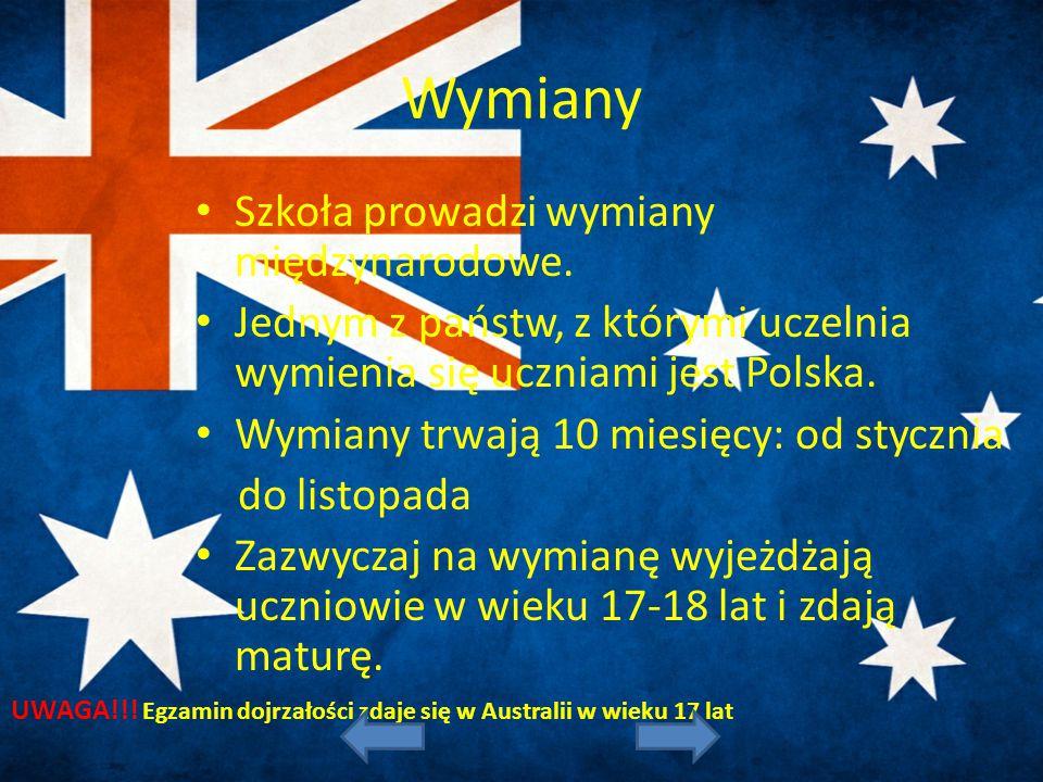 Wymiany Szkoła prowadzi wymiany międzynarodowe. Jednym z państw, z którymi uczelnia wymienia się uczniami jest Polska. Wymiany trwają 10 miesięcy: od