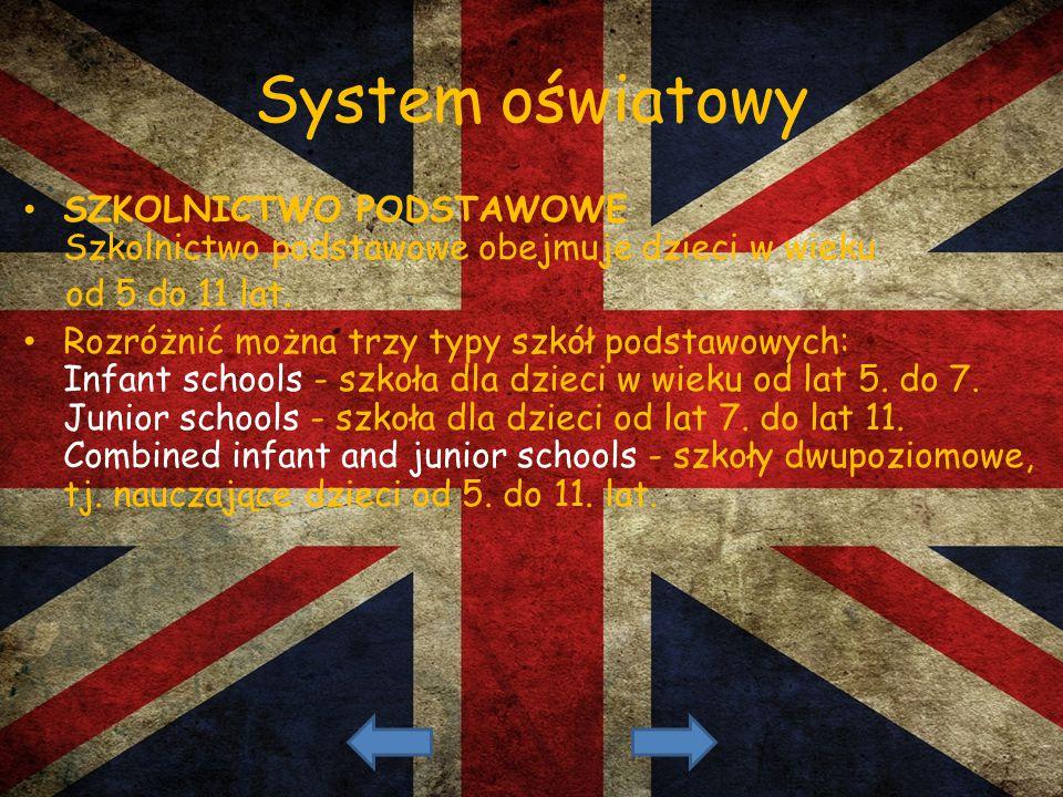 System oświatowy SZKOLNICTWO PODSTAWOWE Szkolnictwo podstawowe obejmuje dzieci w wieku od 5 do 11 lat. Rozróżnić można trzy typy szkół podstawowych: I