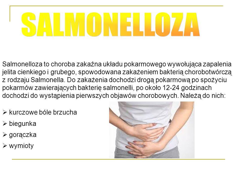 Salmonelloza to choroba zakaźna układu pokarmowego wywołująca zapalenia jelita cienkiego i grubego, spowodowana zakażeniem bakterią chorobotwórczą z r