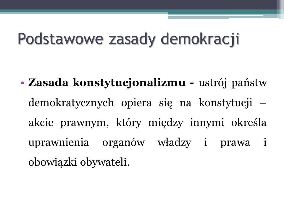Zasada konstytucjonalizmu - ustrój państw demokratycznych opiera się na konstytucji – akcie prawnym, który między innymi określa uprawnienia organów w