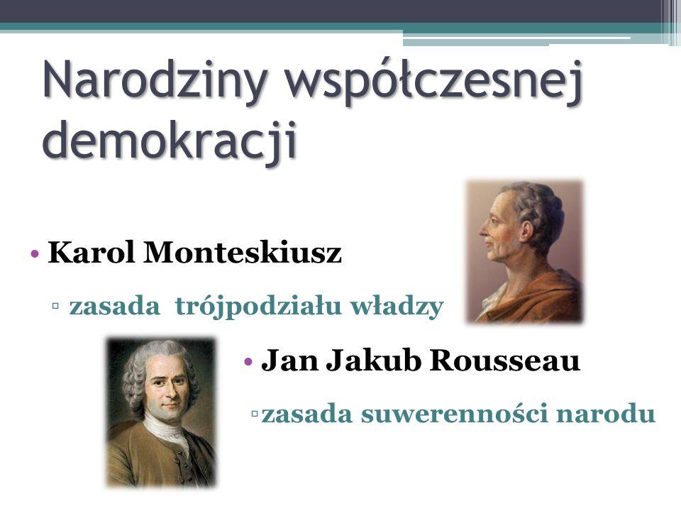 Karol Monteskiusz ▫zasada trójpodziału władzy Jan Jakub Rousseau ▫zasada suwerenności narodu Narodziny współczesnej demokracji