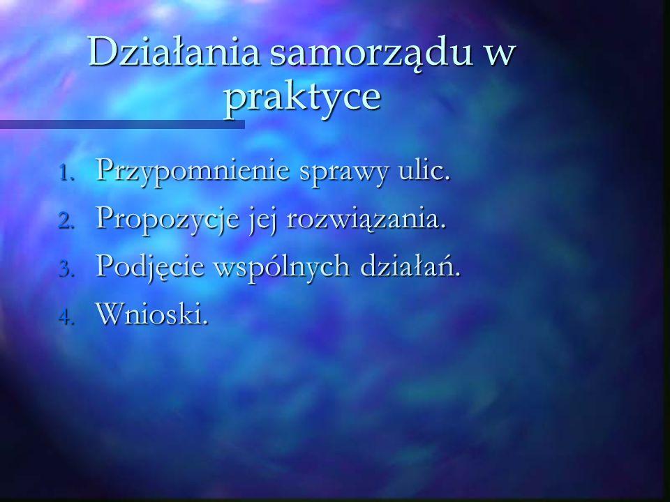 Działania samorządu w praktyce 1. Przypomnienie sprawy ulic.