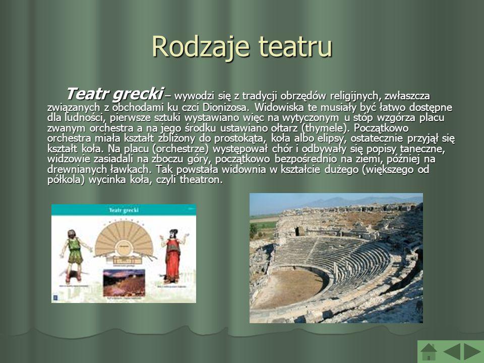 Rodzaje teatru Teatr grecki – wywodzi się z tradycji obrzędów religijnych, zwłaszcza związanych z obchodami ku czci Dionizosa. Widowiska te musiały by
