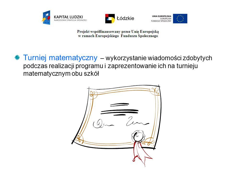 Turniej matematyczny – wykorzystanie wiadomości zdobytych podczas realizacji programu i zaprezentowanie ich na turnieju matematycznym obu szkół