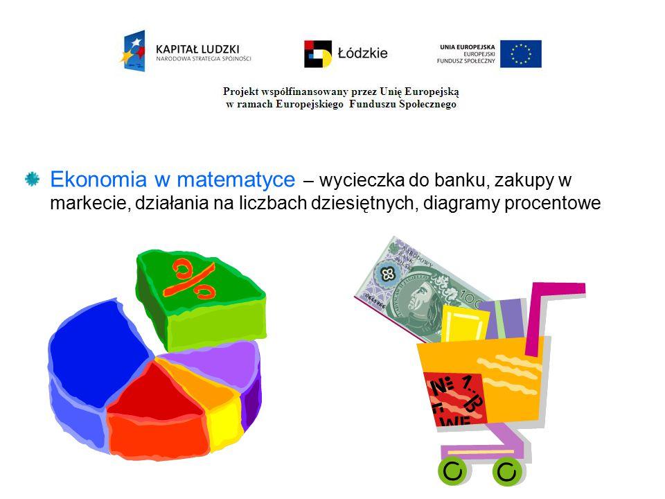 Ekonomia w matematyce – wycieczka do banku, zakupy w markecie, działania na liczbach dziesiętnych, diagramy procentowe