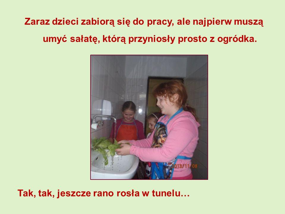 Zaraz dzieci zabiorą się do pracy, ale najpierw muszą umyć sałatę, którą przyniosły prosto z ogródka.