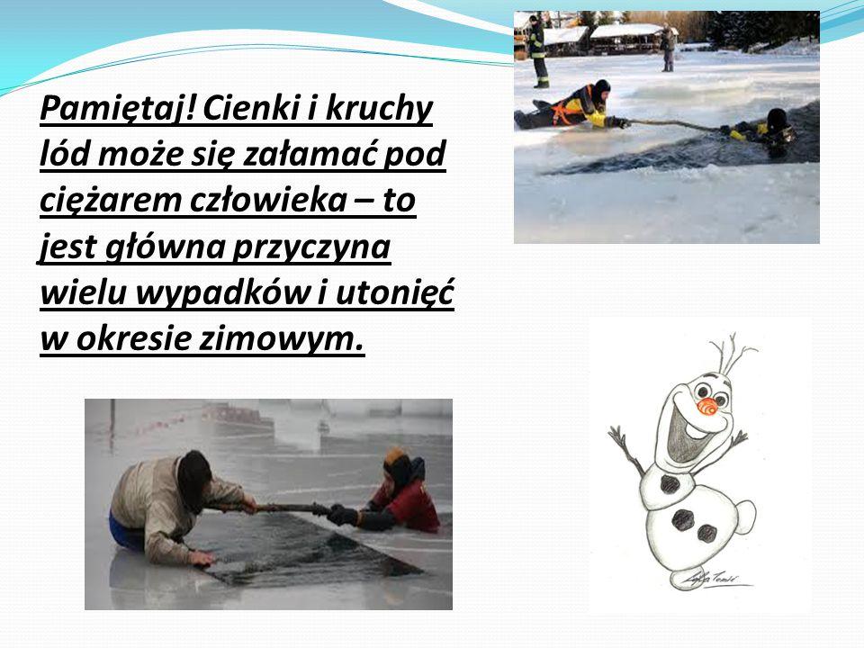 Pamiętaj! Cienki i kruchy lód może się załamać pod ciężarem człowieka – to jest główna przyczyna wielu wypadków i utonięć w okresie zimowym.