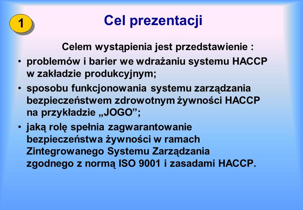 Cel prezentacji Celem wystąpienia jest przedstawienie : problemów i barier we wdrażaniu systemu HACCP w zakładzie produkcyjnym; sposobu funkcjonowania