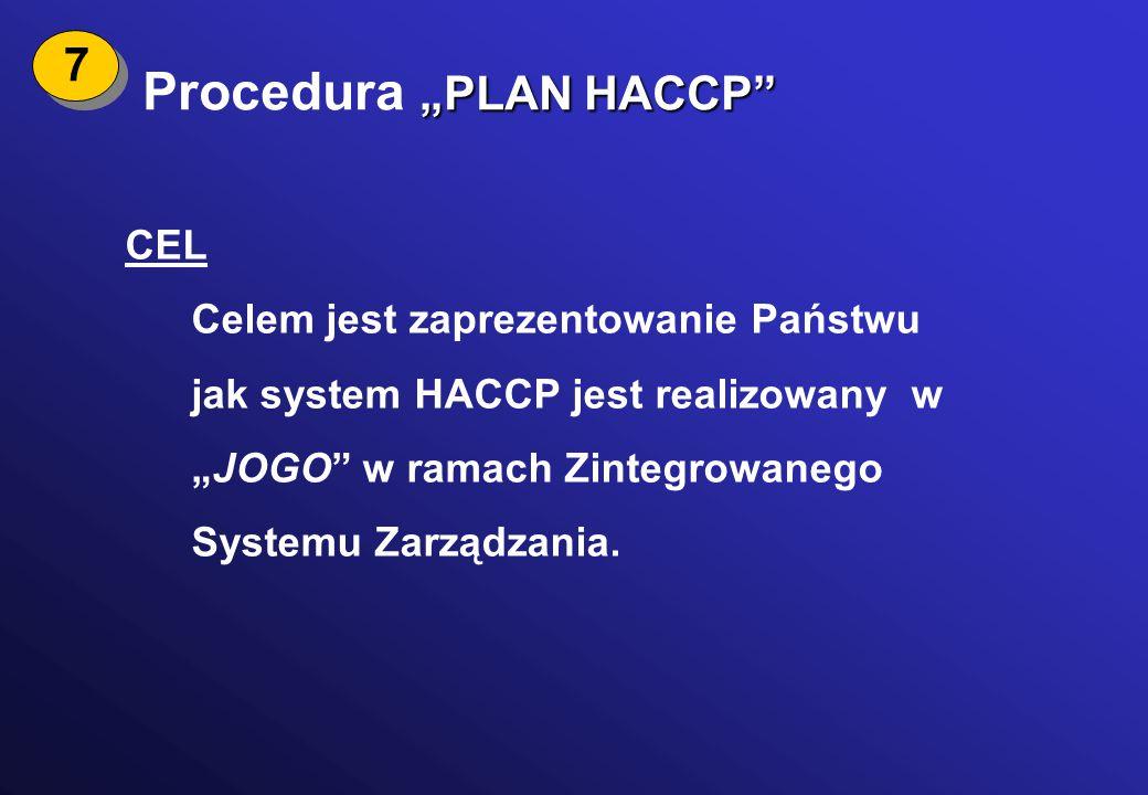 """""""PLAN HACCP"""" Procedura """"PLAN HACCP"""" CEL Celem jest zaprezentowanie Państwu jak system HACCP jest realizowany w """"JOGO"""" w ramach Zintegrowanego Systemu"""