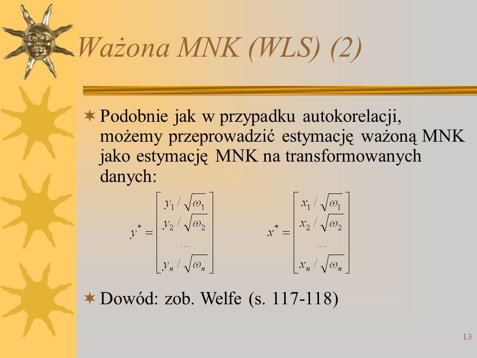 Ważona MNK (WLS) (2) 13  Podobnie jak w przypadku autokorelacji, możemy przeprowadzić estymację ważoną MNK jako estymację MNK na transformowanych danych:  Dowód: zob.