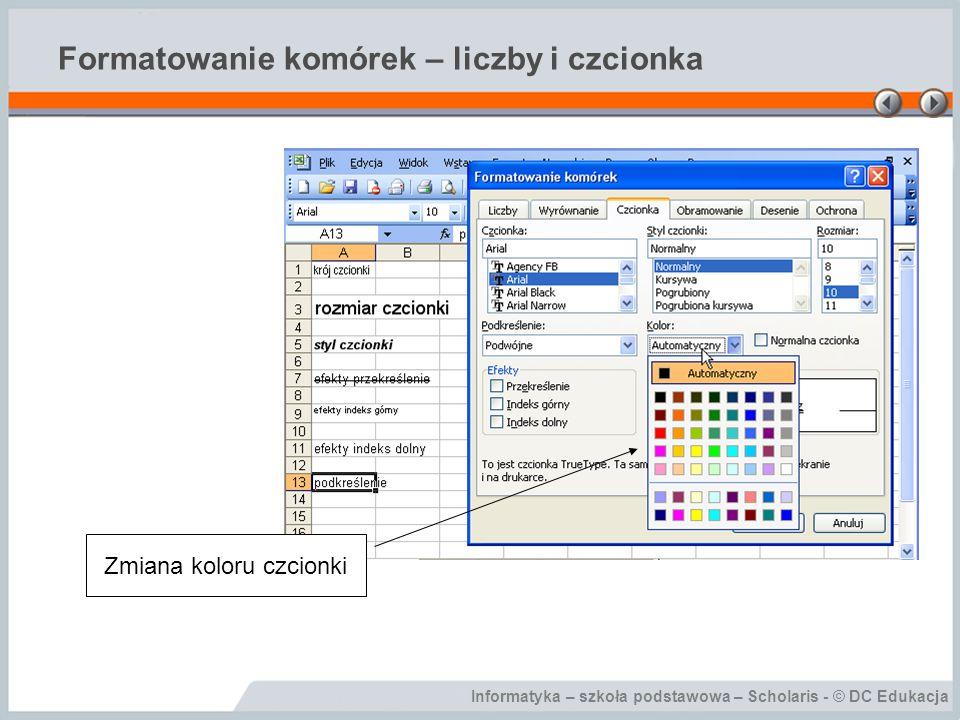 Informatyka – szkoła podstawowa – Scholaris - © DC Edukacja Formatowanie komórek – liczby i czcionka Zmiana koloru czcionki