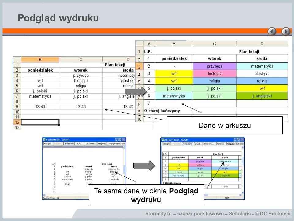 Informatyka – szkoła podstawowa – Scholaris - © DC Edukacja Podgląd wydruku Dane w arkuszu Te same dane w oknie Podgląd wydruku