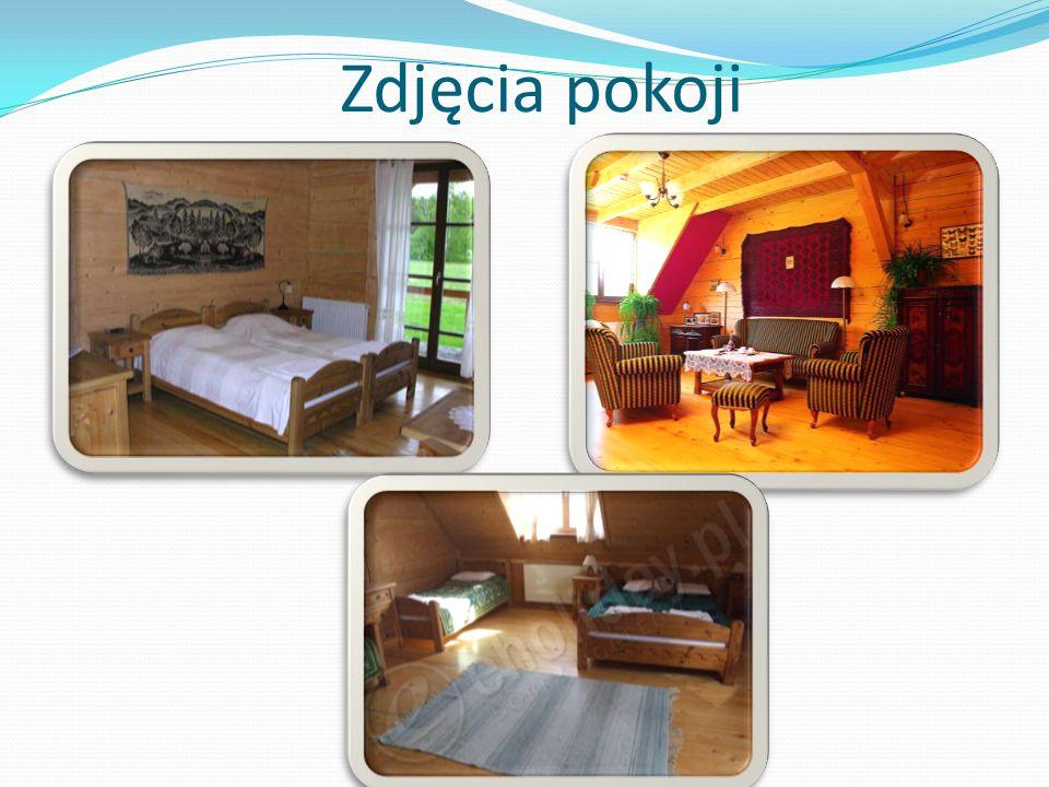 Pokoje Do dyspozycji gości oddajemy 26 przestronnych, pachnących drewnem pokoi z łazienkami: 5 pokoi 1-osobowych z podwójnym łóżkiem 15 pokoi 2-osobow