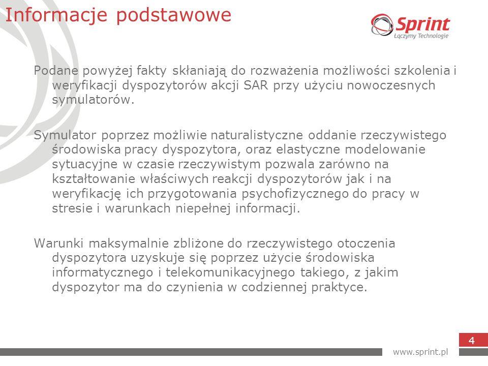 www.sprint.pl 4 Podane powyżej fakty skłaniają do rozważenia możliwości szkolenia i weryfikacji dyspozytorów akcji SAR przy użyciu nowoczesnych symulatorów.